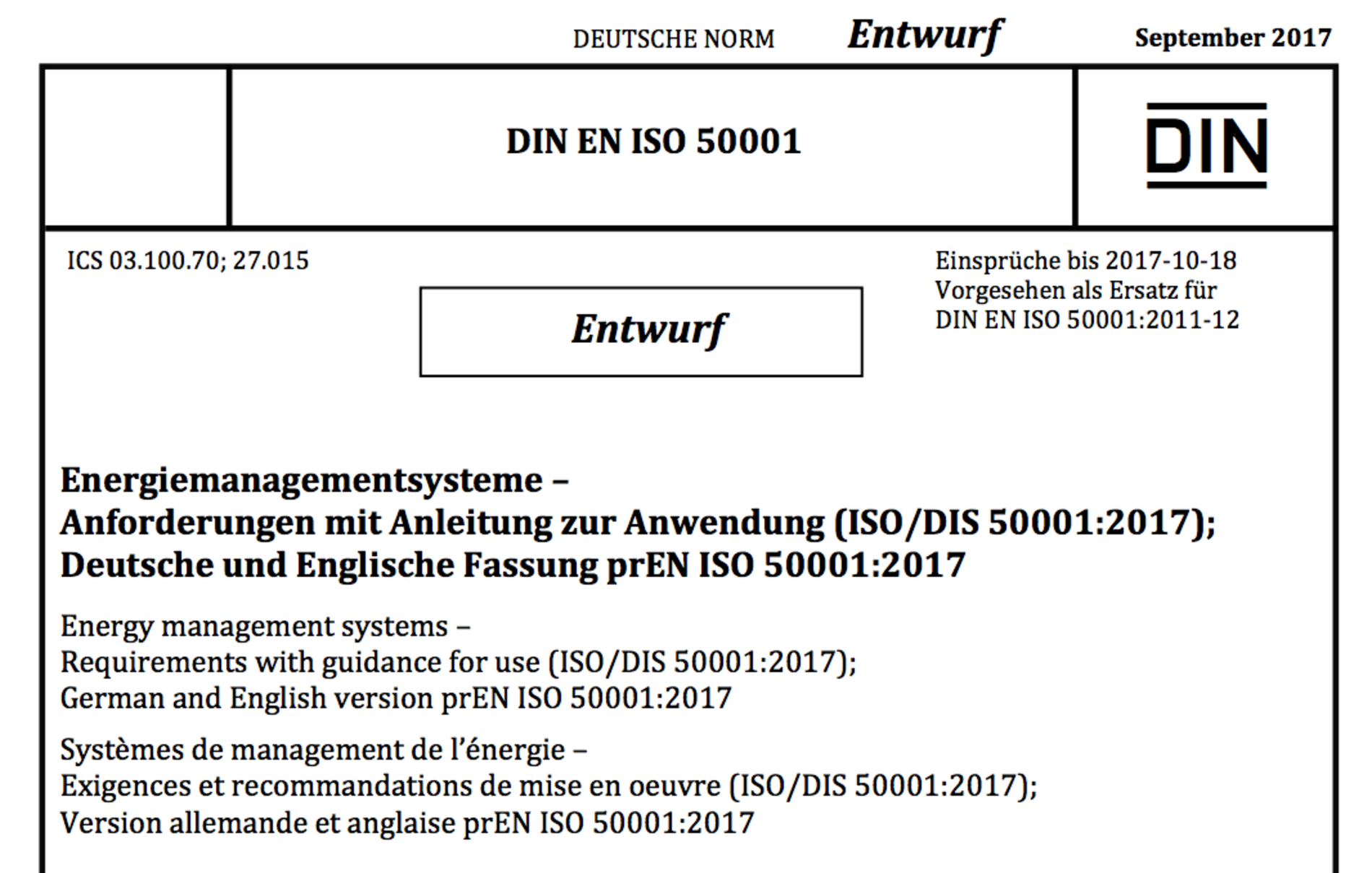 ISO 50001 Beuth Verlag Revision